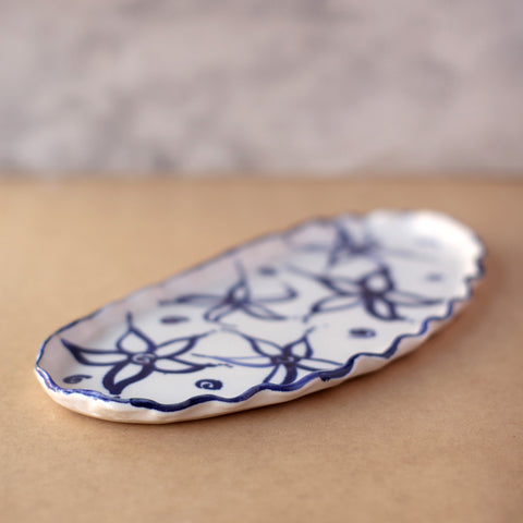 Blue and White Flower Platter