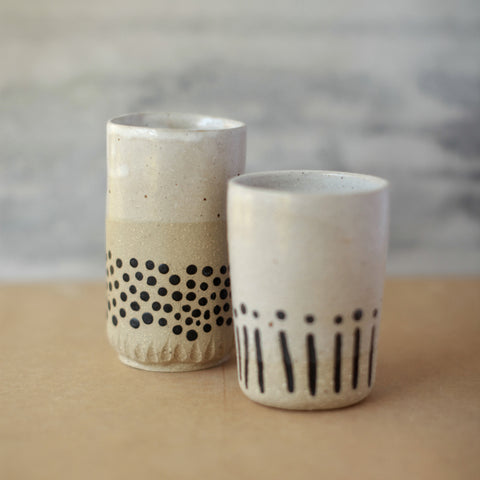 Black and White Patterned Ceramic Tumbler