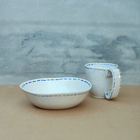Blue and White Breakfast Bowl and Mug set