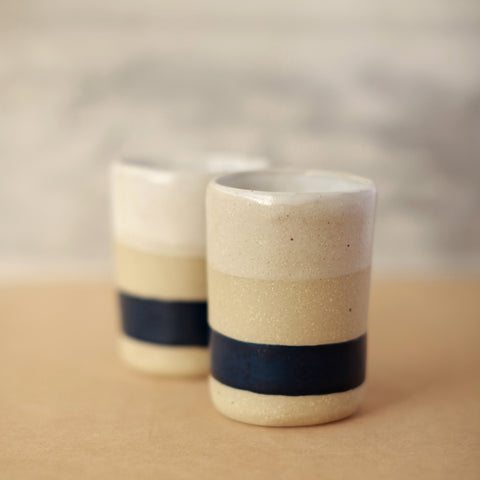 Blue and White Ceramic Tumbler