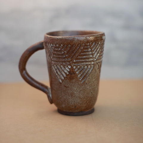Oversized Chocolate Mug with Geometric Pattern