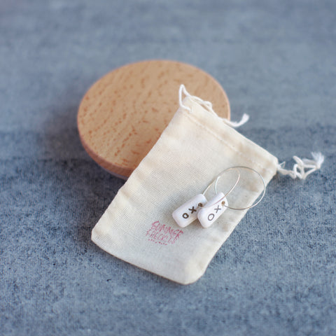 Handmade Ceramic Earrings with Silver Detail