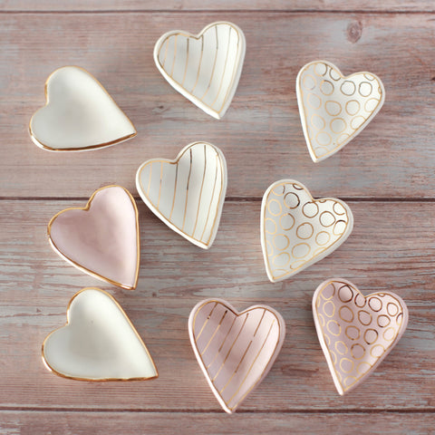 Heart Mini Ring Dish - with Gold Detail