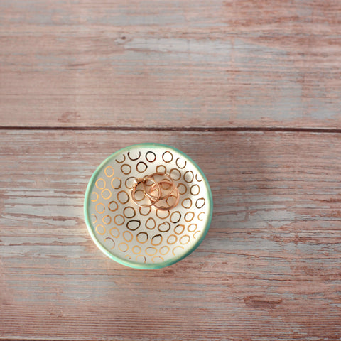 Mini Round Ring Dish with Gold Detail
