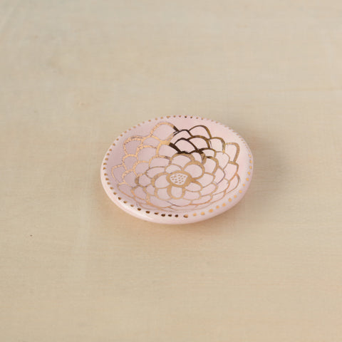 Mini Round Ring Dish - Pink with Gold Detail