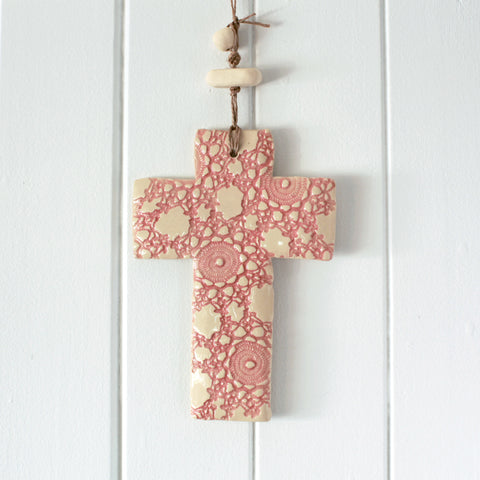 Ceramic Cross with Pressed Lace Pattern