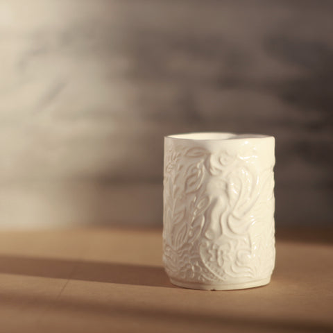 White Ceramic Tumbler with Pressed Pattern