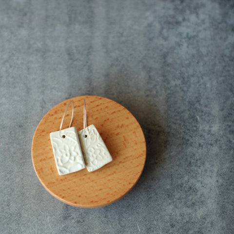 White Patterned Ceramic Earrings