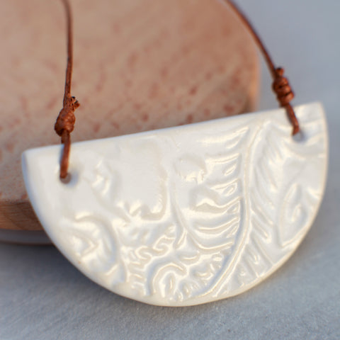 White Patterned Ceramic Necklace