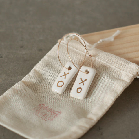 Handmade Ceramic Earrings with 22k Gold Detail