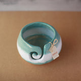 Yarn Bowl - Teal & White