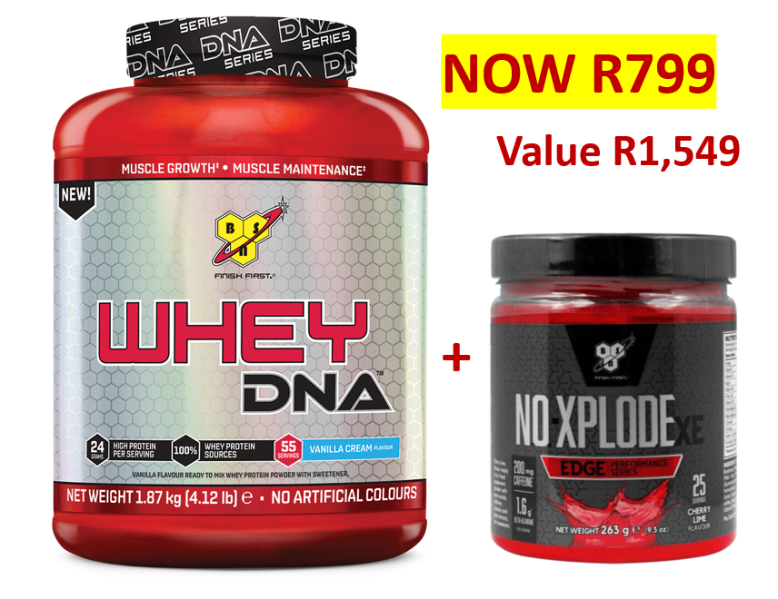 BSN DNA WHEY 1.87KG + FREE X.E. EDGE - NOW R799