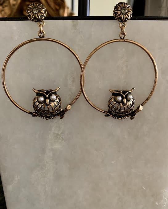 Owl Hoop Earrings - Glamour Manor