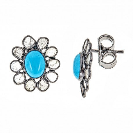 Sliced Diamonds with Turquoise Stud Earring - Glamour Manor