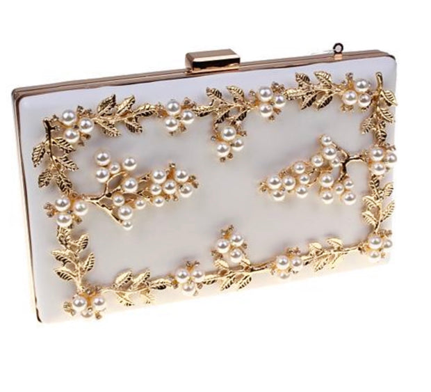 White Leather Gold Leaf Clutch With Pearls - Glamour Manor