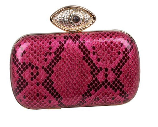 Hot Pink Clutch With Evil Eye - Glamour Manor