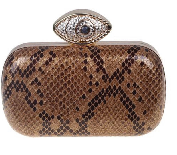 Tan Clutch With Evil Eye - Glamour Manor