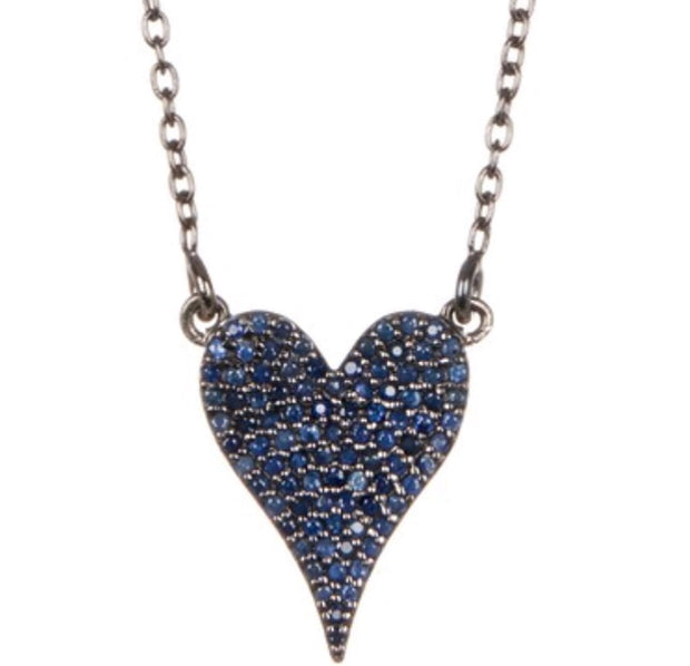 Sapphire Heart Pendant Necklace - Glamour Manor