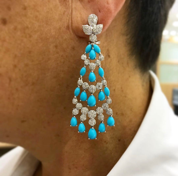 Diamond and Turquoise Dangling Earrings - Glamour Manor