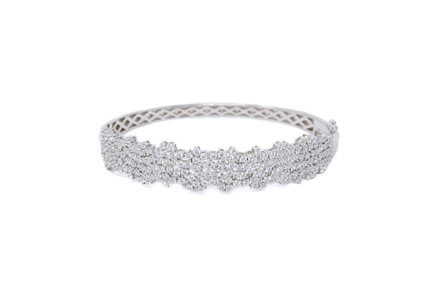 Multi White CZ Stones Cluster Bangle - Glamour Manor