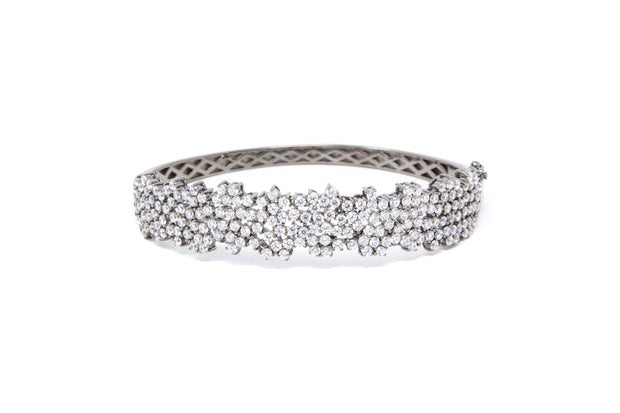 Multi White CZ Stone Cluster Bangle - Glamour Manor