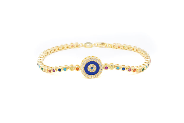 Rainbow Evil Eye Bracelet - Glamour Manor