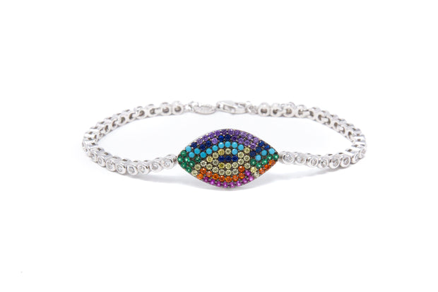 Sterling Silver Rainbow Evil Eye bracelet - Glamour Manor