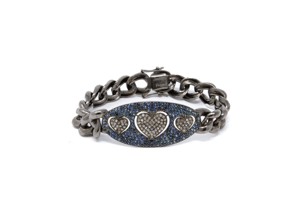 Triple Heart Diamond and Sapphire Sterling Silver ID Bracelet - Glamour Manor