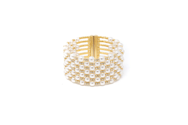 Faux Pearl and White CZ Cuff Statement Bracelet - Glamour Manor
