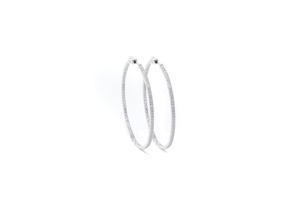 Sterling Silver and White CZ Stones Hoop Earrings - Glamour Manor