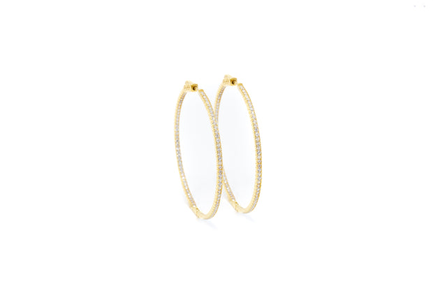 Gold Vermeil and Whites CZ Stones Hoop Earrings - Glamour Manor