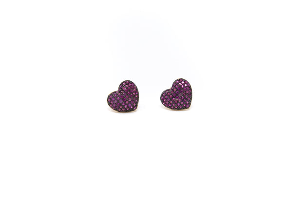 Pink Heart Stud Earrings - Glamour Manor