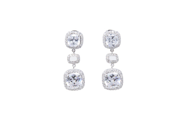 Sterling Silver CZ Drop Earrings - Glamour Manor