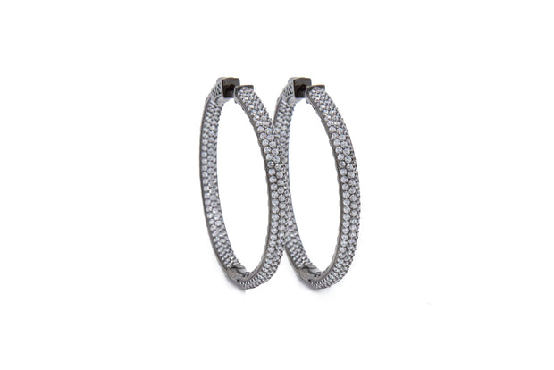 Sterling Silver Black Rhodium Hoops - Glamour Manor