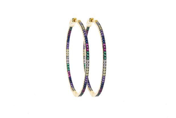 Gold Vermeil and Multicolor Hoop Earrings - Glamour Manor