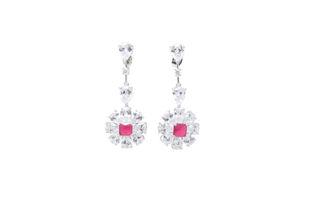 Faux Ruby and White CZ Stone Statement Earrings - Glamour Manor