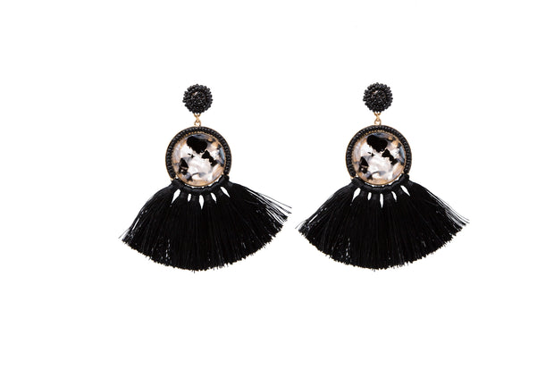 Black Tassel and Beaded Statement Earrings - Glamour Manor