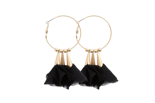 Flower Statement Hoop Earrings - Glamour Manor
