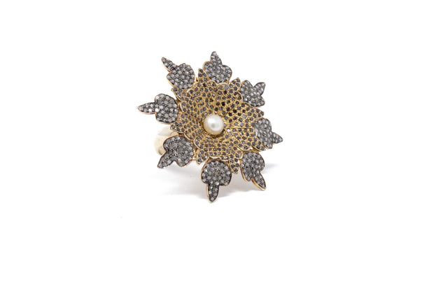 Silver, Pearl and Champagne Diamond Flower Ring - Glamour Manor