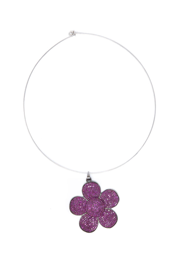 Ruby Flower Pendant - Glamour Manor
