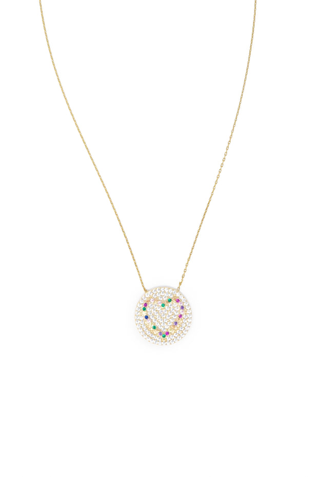 Gold Vermeil Round Disc Heart Necklace - Glamour Manor