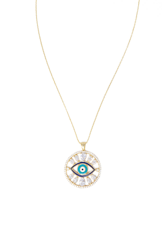 Round Evil Eye Necklace - Glamour Manor
