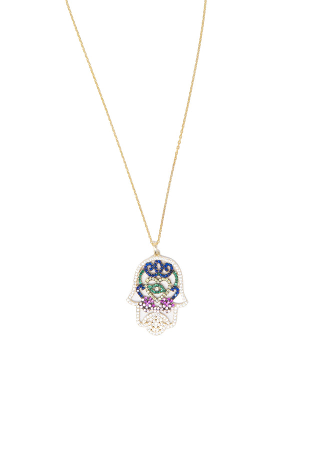 Hamsa Multicolored Necklace - Glamour Manor