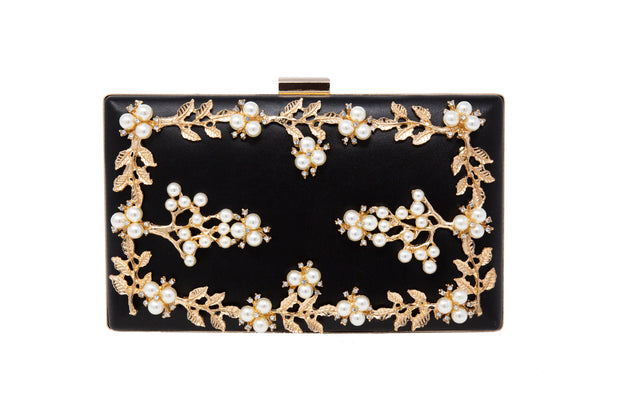 Black Leather Gold Leaf Clutch With Pearls - Glamour Manor