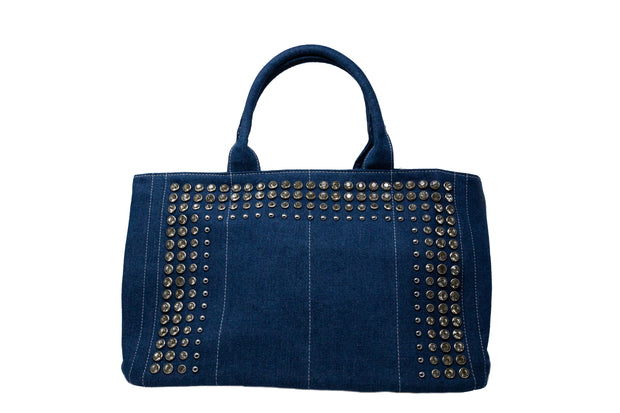 Denim Tote with Crystals - Glamour Manor