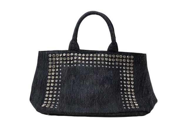 Dark Denim Tote With Crystals - Glamour Manor