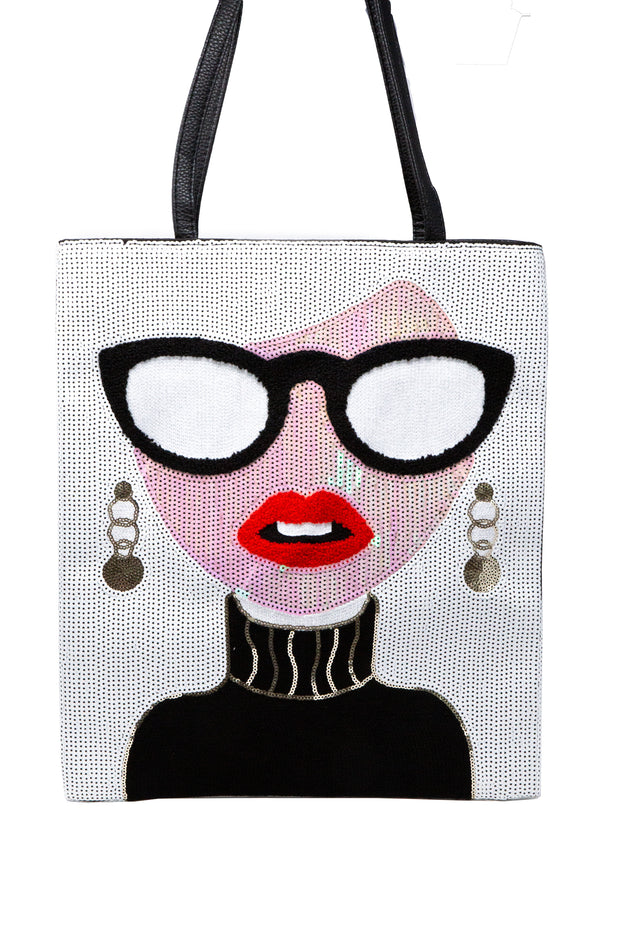 Sequin Tote Bag With Chic Lady On It - Glamour Manor