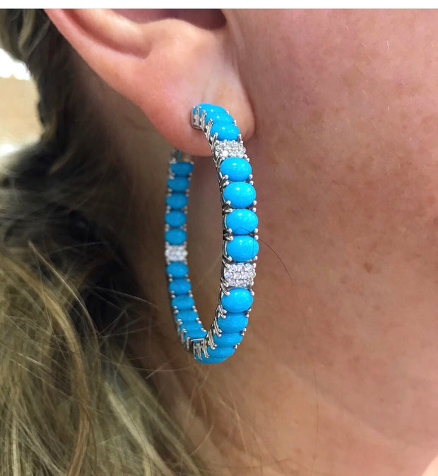 Turquoise and Diamond Hoops - Glamour Manor