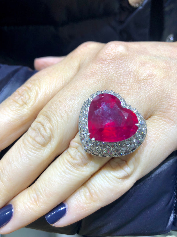 Ruby Heart Diamond Ring - Glamour Manor