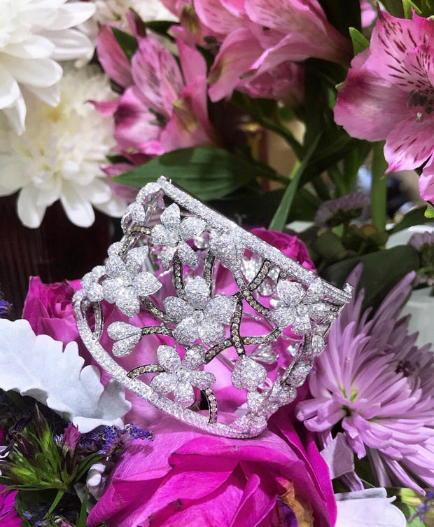 Diamond Flower Bangle - Glamour Manor